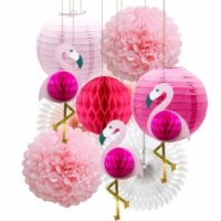 Flamingo Paper Fans and Lanterns