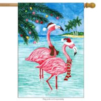 Flamingo Christmas House Flag